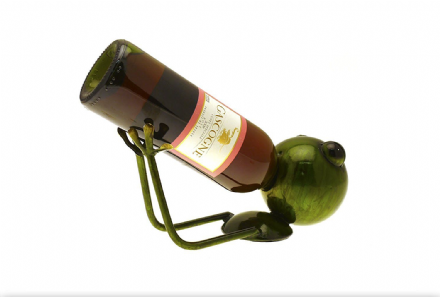 Green Metallica Frog Wine Bottle Holder